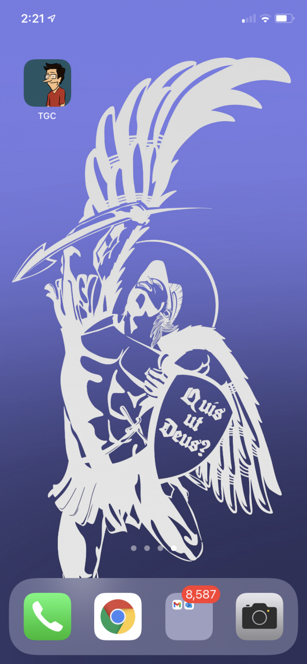 An image of the St. Michael the Archangel smartphone background applied to an Apple iPhone.